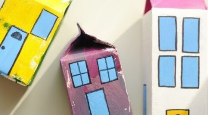 Milk Cartons Painted Like Buildings Image