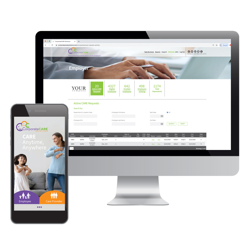 corporatecare solutions website on desktop and mobile image